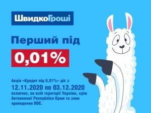 ШвидкоГрошi починає видачу кредитів під 0,01%!